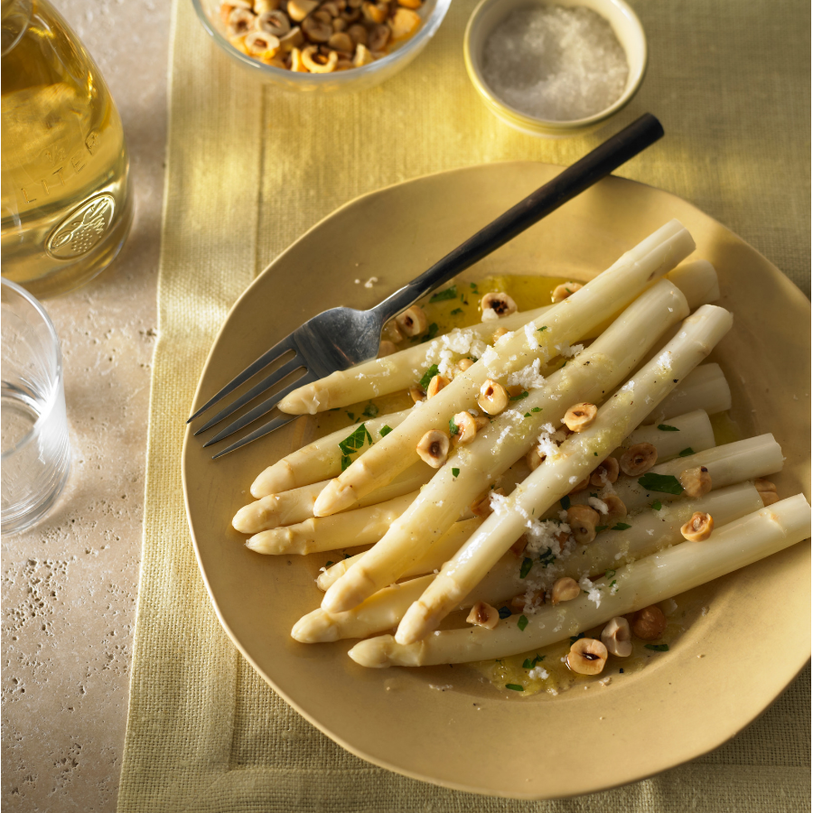 Recipe White Asparagus With Hazelnuts Manchego The Fold Southern Highlands